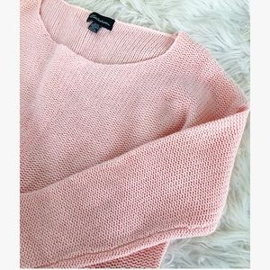 Sweaters - Baby Pink large knit pullover sweater long sleeve